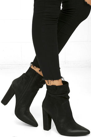 Steve Madden Ruling Black Nubuck Leather Booties at Lulus.com!
