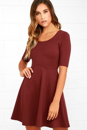 Black Swan Braelynn Wine Red Skater Dress at Lulus.com!