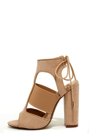 Unstoppable Stunner Nude Suede High Heel Sandals at Lulus.com!