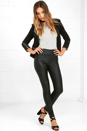 Perfect Performance Black Vegan Leather Leggings at Lulus.com!