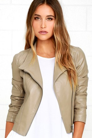 Jack by BB Dakota Feeny Taupe Vegan Leather Moto Jacket at Lulus.com!