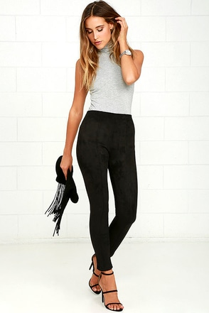 Made in the Suede Black Suede Leggings at Lulus.com!