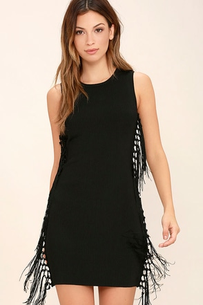 Macrame Hey Black Fringe Dress at Lulus.com!