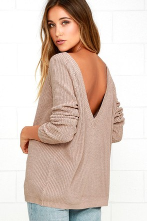 Just For You Light Brown Backless Sweater at Lulus.com!
