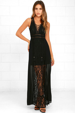 Midnight in the City Black Lace Maxi Dress at Lulus.com!