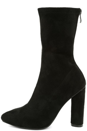 Unbelievably Chic Black Suede High Heel Mid-Calf Boots 1