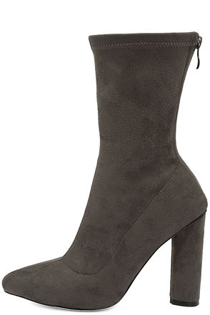 Unbelievably Chic Grey Suede High Heel Mid-Calf Boots at Lulus.com!