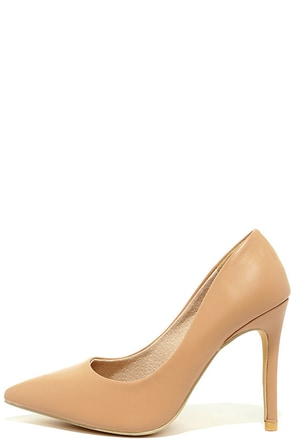 Meet Chic Nude Pointed Pumps at Lulus.com!