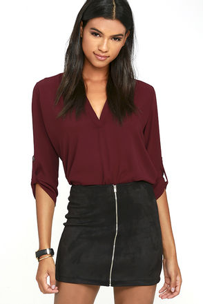Haute Babe Black Vegan Suede Mini Skirt at Lulus.com!