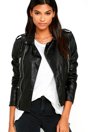 Pretty Slick Black Vegan Leather Moto Jacket at Lulus.com!