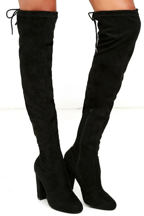 So Much Yes Black Suede Over the Knee Boots at Lulus.com!
