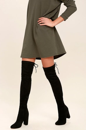 Siren Pia Black Suede Over the Knee Boots at Lulus.com!