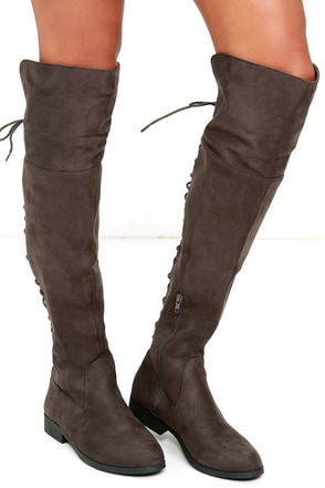 LFL Ramsey Grey Suede Lace-Up Over the Knee Boots at Lulus.com!