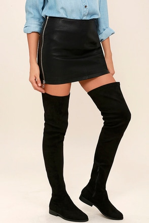 LFL Rank Black Suede Thigh High Boots at Lulus.com!