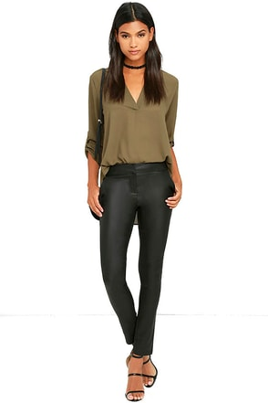 Ready to Rock Black Vegan Leather Pants at Lulus.com!