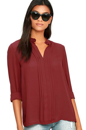 In Tune Wine Red Long Sleeve Top at Lulus.com!