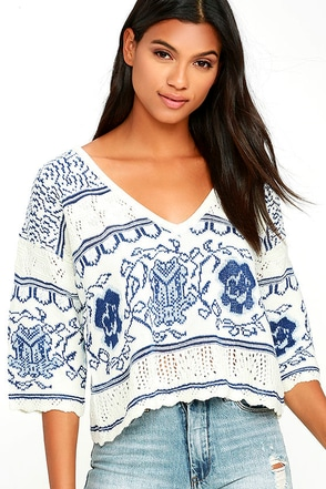 Nightwalker The Bae Blue and White Print Sweater at Lulus.com!