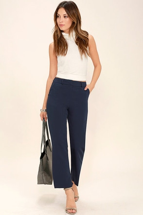 Pick Up the Slack Navy Blue Cropped Pants at Lulus.com!