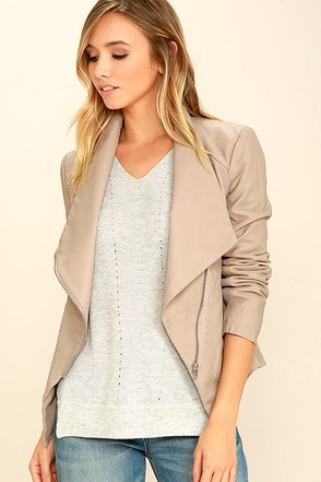 BB Dakota Carmen Beige Vegan Leather Jacket at Lulus.com!