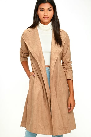 Must-Have Tan Suede Trench Coat at Lulus.com!