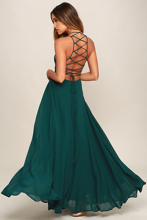 strappy to be here forest green maxi dress 1