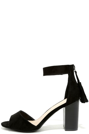 Zoey Black Suede Ankle Strap Heels 1