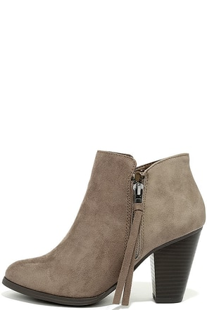 Chic Mystique Taupe Ankle Booties at Lulus.com!