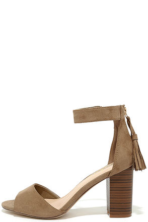 Zoey Taupe Suede Ankle Strap Heels at Lulus.com!