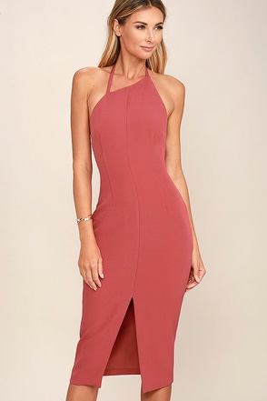 Keepsake Walk the Wire Marsala Midi Dress at Lulus.com!