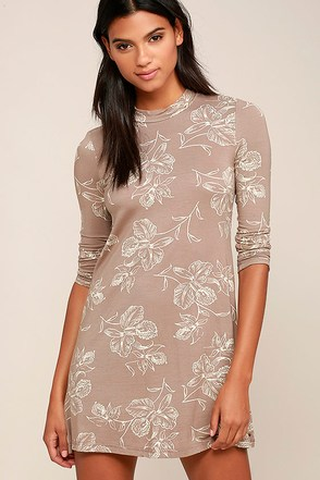 O'Neill Leona Taupe Floral Print Long Sleeve Dress at Lulus.com!