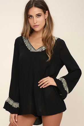 Amuse Society Lido Black Embroidered Romper at Lulus.com!