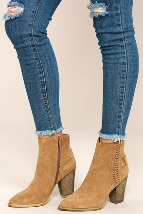 Very Volatile Preston Tan Suede Leather High Heel Booties at Lulus.com!