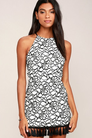 My Belle Black and White Lace Dress at Lulus.com!