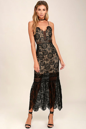 Underneath the Stars Black Embroidered Midi Dress at Lulus.com!