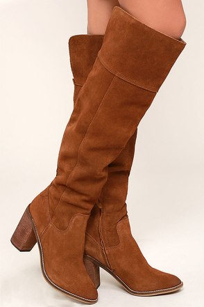 Steve Madden Palisade Chestnut Leather Over the Knee Boots at Lulus.com!