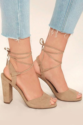 Elle Black Suede Lace-Up Heels at Lulus.com!
