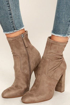 Steve Madden Edit Taupe Suede High Heel Mid-Calf Boots 1
