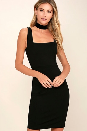 Square Cute Black Bodycon Dress at Lulus.com!