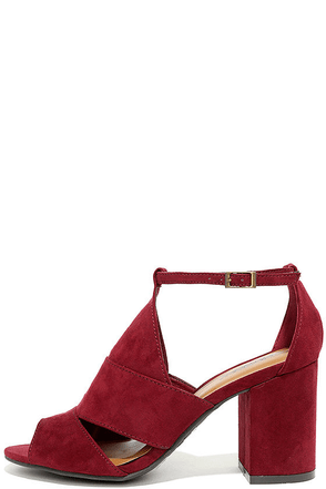 Stylish Opportunity Burgundy Suede Peep-Toe Heels at Lulus.com!
