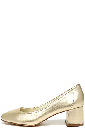 Steve Madden Tomorrow Gold Leather Block Heels at Lulus.com!