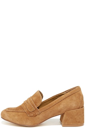 Chinese Laundry Marilyn Camel Suede Leather Block Heels at Lulus.com!