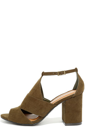 Stylish Opportunity Olive Suede Peep-Toe Heels at Lulus.com!
