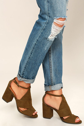 Stylish Opportunity Taupe Suede Peep-Toe Heels at Lulus.com!