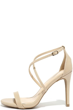 Elegant Night Natural High Heel Sandals at Lulus.com!
