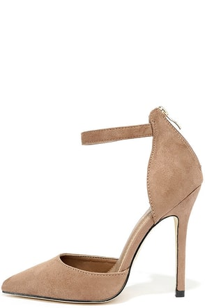 Harvest Party Taupe Suede Ankle Strap Heels at Lulus.com!