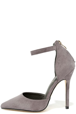 Harvest Party Grey Suede Ankle Strap Heels at Lulus.com!