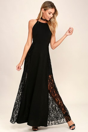 Dark of Night Black Lace Maxi Dress at Lulus.com!
