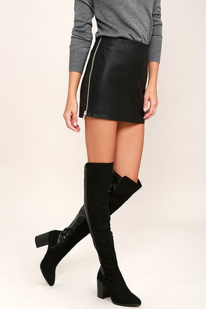 Report Jetsan Black Suede Over the Knee Boots at Lulus.com!