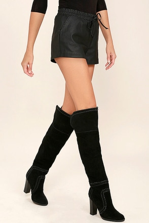 Report Liola Black Suede Leather Over the Knee Boots at Lulus.com!