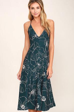 Keepsake Heatwave Dark Teal Floral Print Midi Dress at Lulus.com!